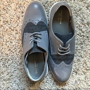 Cole Haan houndstooth and leather oxfords